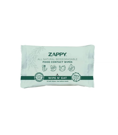 Zappy All Natural Biodegradable Food Contact Wipes 15 Sheets