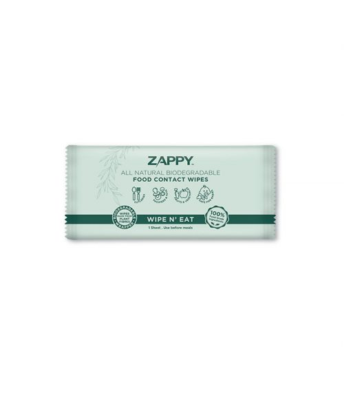Zappy All Natural Biodegradable Food Contact Wipes 1s x 100 Sheets